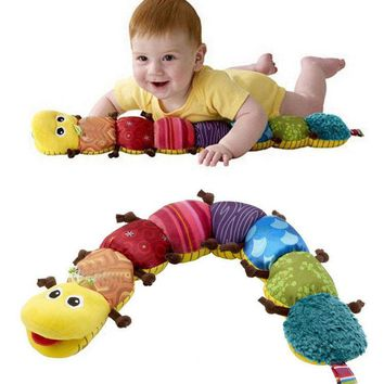 High Quality 60cm Plush Toy Baby Rattle Stuffed Doll Coffee Feet Caterpillar Music Insects Children Kids Birthday Gifts Presents