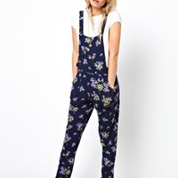 ASOS PETITE Dungaree In Floral Print at asos.com