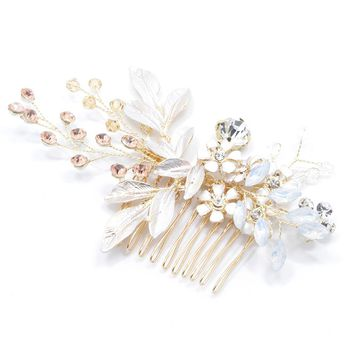 Women Lady Hairpin Hair Comb Clip Floral Head Piece Crystal Flower Bride Hair Pins Wedding Bridal Hairs Accessories Gift M8694