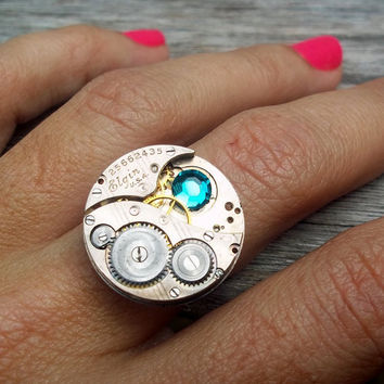 Vintage Watch Movement on sterling silver by TiffanySaxtonJewelry