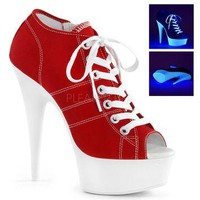 Red Platform Canvas Sneakers 6 Inch Heels- Stripper Shoes