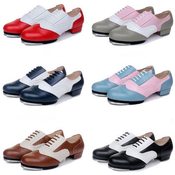 Quality Baroco Style Genuine Leather Vintage Tap Shoes Jazz Flamenco Dancing Shoe Men Women's Clogging Tap Dance Shoes EU34-EU45