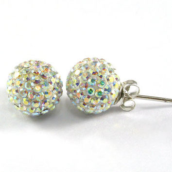 10 mm. AB Pave Crystal Ball with 925 Sterling Silver Post Stud Earrings