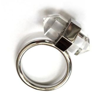 Double Point Quartz Ring