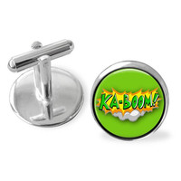 Green cufflinks, Ka-Boom, punk gift, Fathers Day gift, comic book jewelry, casual style cuff links, trendy accessories, geekery, made in TN