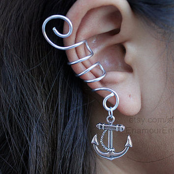 Silver Anchor Ear Cuff