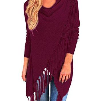 Yidarton Women's Casual Asymmetric Tassels Cardigan Pullover Sweater Shawl Coat