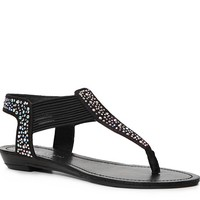 Add some sparkle to your warm weather style with this rhinestone embellished gladiator from Madden Girl. The Tanduum flat sandal will take your style from drab to fab in no time.