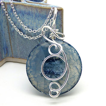 Blue Stone Necklace, Sterling Silver Wire Wrap Pendant, Blue Agate, Round Faceted Stone Necklace, Colorful Rock Jewelry