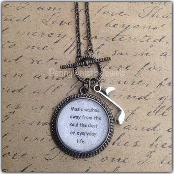 Music Quote, Quote Necklace, Gunmetal Necklace, Quote Jewelry, Music Jewelry, Inspirational Quote, PennyWhistle