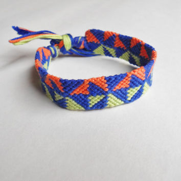 Handmade Friendship Bracelet - Unisex - Triangle Pattern - Navy, Light Green, and Orange