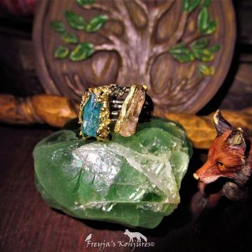 "Mesmerizing Vibrant Apatite & Smoky Quartz Ring - ""Jewel Of Mercury"" - Fae Sight, Love, Attraction, Luck, Money, Negative Repel, Clearing"
