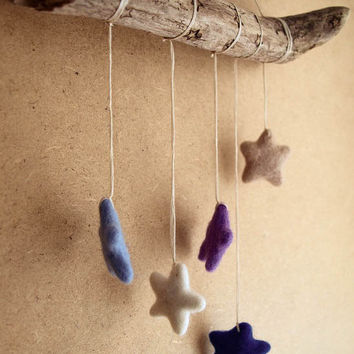 CHRISTMAS SALE! Woodburned Mobile - Sweet Dreams - Woodburning Decorated Driftwood Mobile with Whool Stars - Boho Home Decor, Nursery Mobile