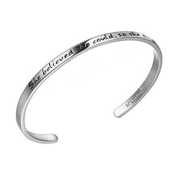 "AUGUAU SOLOCUTE Silver Cuff Bangle Bracelet Engraved ""She believed she could so she did"" Inspirational Jewelry, Perfect Gift for Christmas Day, Thanksgiving Day and Birthday"