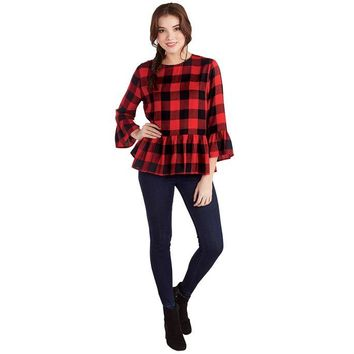 Red Buffalo Check Flora Flounce Top by Mud Pie