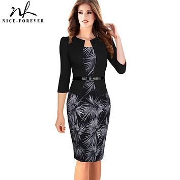 Nice-forever One-piece Faux Jacket Brief Elegant Patterns Work dress Office Bodycon Female 3/4 Or Full Sleeve Sheath Dress b237