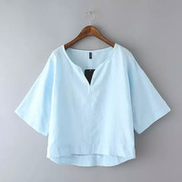Plain V-Neck Sleeve Shift Blouse