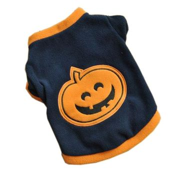 Cute Cat Shirt with Pumpkin for Halloween Cat Costume