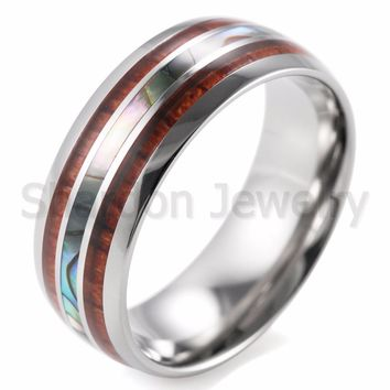 SHARDON Men's 8mm Titanium Wedding Ring With Double Wood & Pearl Shell Inlay Men's Ring size 8-13
