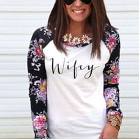 Floral And Letter Printed Long Sleeve Causal Sweater