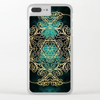 Gold & Dark Mandala Clear iPhone Case by Tanyadraws