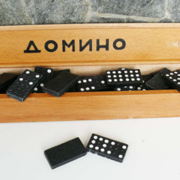 Vintage Black Domino Set, Domino Board Game 60s, Gift for Kids, Family USSR Board Game, Soviet Collectible, Vintage Gift