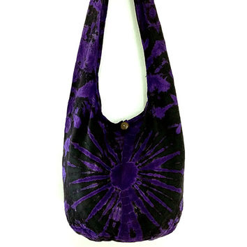 Tie Dye Bag Cotton Bag Hippie bag Hobo bag Boho bag Shoulder bag Sling bag Messenger bag Tote bag Crossbody bag Gypsy Purse Handbags Violet