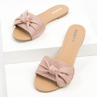 Twisted Bow Slide Sandals