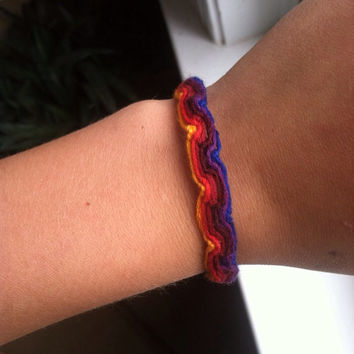 Sunset color arubian wave style friendship bracelet