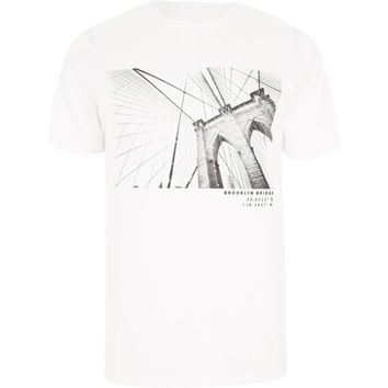 White Brooklyn Bridge print slim fit T-shirt - T-shirts - T-Shirts & Tanks - men