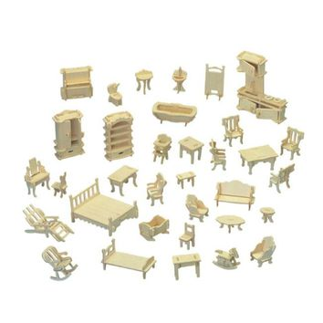 Chanycore Baby Learning Educational Wooden Toys 3D Puzzle Doll House Furniture Sofa Bed Table Chair Kitchen 34pcs Kid Gift 4321