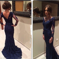 Navy Blue V Neck Evening Dress Mermaid Lace Prom Gown Party Dress Formal Dress