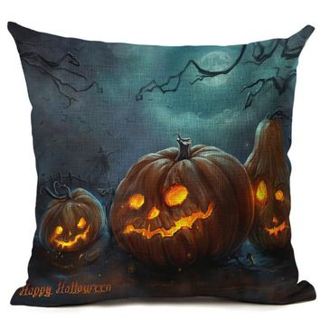 Pillowcase Halloween Skull Cushions Cover Cotton Linen Printed Throw Pillows Cojines Multicolor Pattern Pillowslip 45cm*45cm