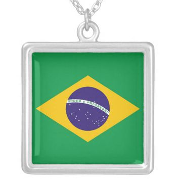 Elegant Necklace with Flag of Brazil