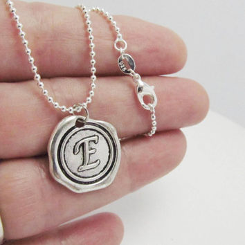 Unisex Monogram Necklace, Personalized Initial  Necklace, WaxSeal Men Necklace, Keepsake Necklace, Custom Necklace, Sterling Silver Chain