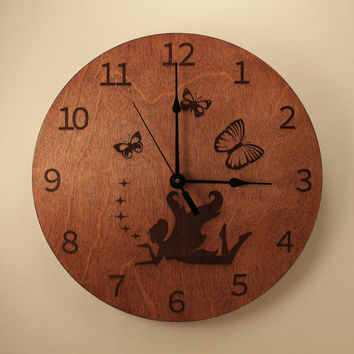 Fairy laser cut clock Butterfly clock Fantasy clock Wood clock Wall clock Wooden wall clock Fairy tale Home clock Kid's room decor Magical