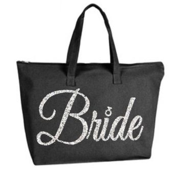 Silver Gold or your choice Glitter color Bride Large Black Tote Bag zipper closure Bride to Be Newlywed Bridal Wedding Shower Bachelorette