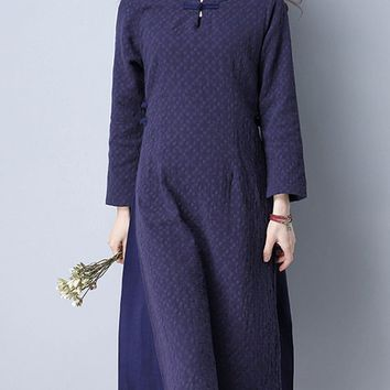 Casual Patchwork Plain Cotton/Linen Midi Shift Dress
