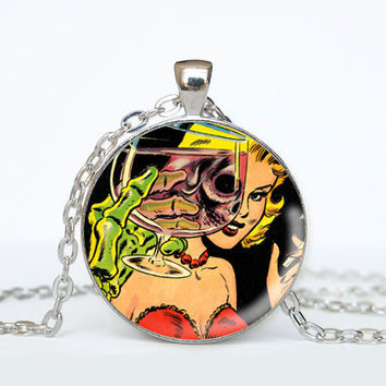Horror Comic Book Necklace - Wine Glass Revealing Skeleton Woman - Geeky Jewelry