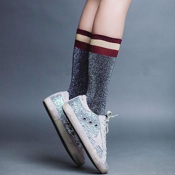 Crew socks women striped Stripe shimmer socks Women Glitter Socks Silver grey/Green/White Glitter Socks