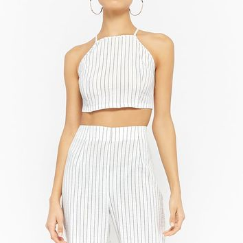 Pinstriped Crop Top & Pants Set
