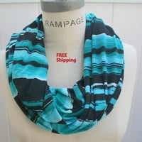 Colorful Infinity Scarf FREE SHIPPING scarfs  Multicolor Black Blue White Spring Gift  - By PIYOYO