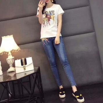"""Dolce & Gabbana"" Women Casual Fashion Personality Patch Deer Sequin Letter Short Sleeve T-shirt Jeans Trousers Set Two-Piece"