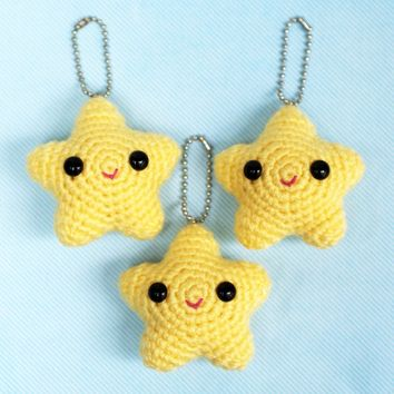 Happy Star Amigurumi Keychain or Hanging Charm