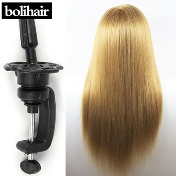 """26"""" Blonde Yaki Synthetic Mannequin Head Hair Maniqui Hairdressing Doll Heads Maniquies Women Educational Training Hairdresser"""