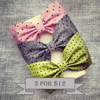Pink lime black polkadot Steele blue grey geometric fabric hair bow