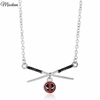 Deadpool Dead pool Taco MQCHUN 2017 New Marvel  Logo Charm Crossed Katana Pendant Necklace Statement Necklace For Men Women Movie Fans Gift AT_70_6
