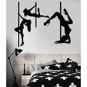Wall Decal Girl Dancing Pole Striptease Club Bar Cafe Fitness Plasty M1250