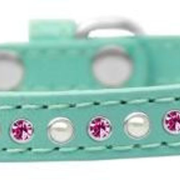Pearl and Pink Crystal Size 10 Aqua Puppy Collar