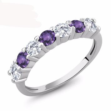 1.01 Ct Round White Created Moissanite Purple Amethyst 925 Sterling Silver Ring